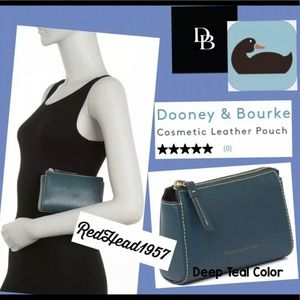 Dooney & Bourke Leather Teal Cosmetic Pouch